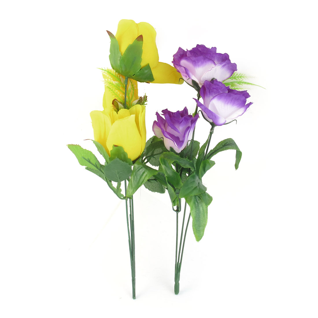 2 Pcs Yellow Purple Artificial Fabric Flower Bouquet Home Office Table Decor