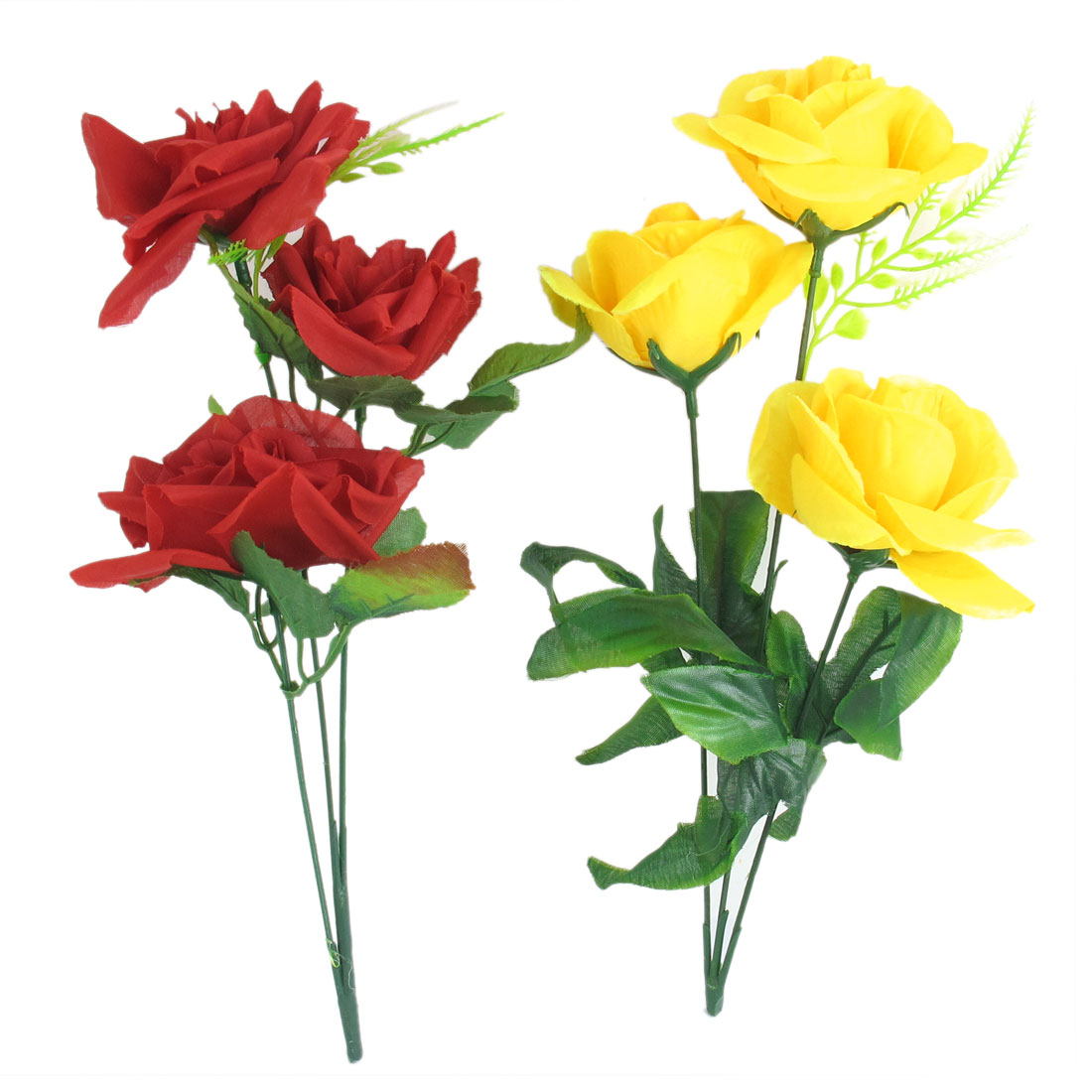 2 Pcs Wedding Emulational Fabric Red Yellow Flower Bouquet 30cm High