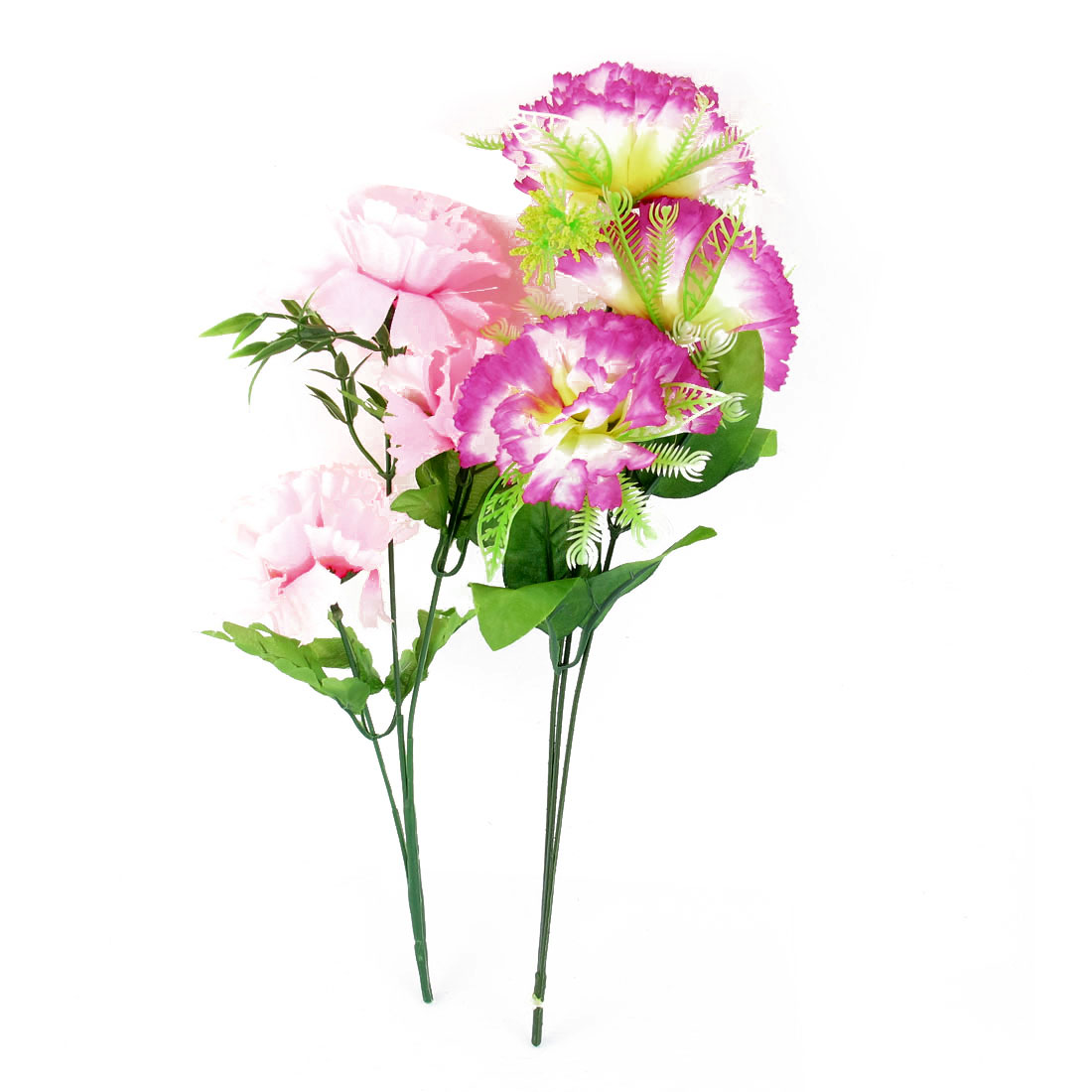 2 Pcs Wedding Party Artificial Fabric Fuchsia Pink Flower Bouquet 37cm Height