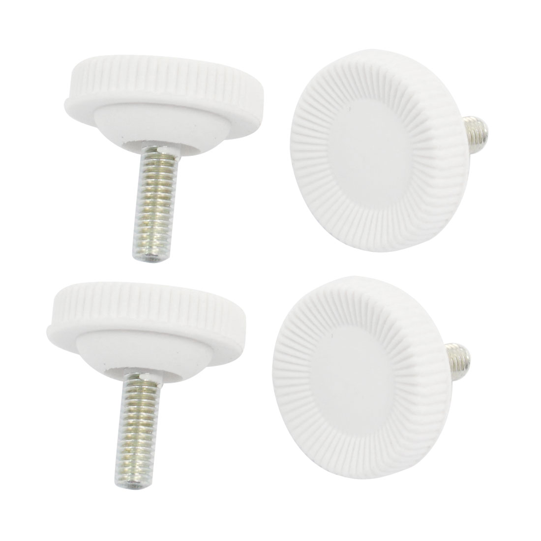 4 Pcs Screw On Type Furniture Glide Leveling Foot Adjuster 7mmx15mm White