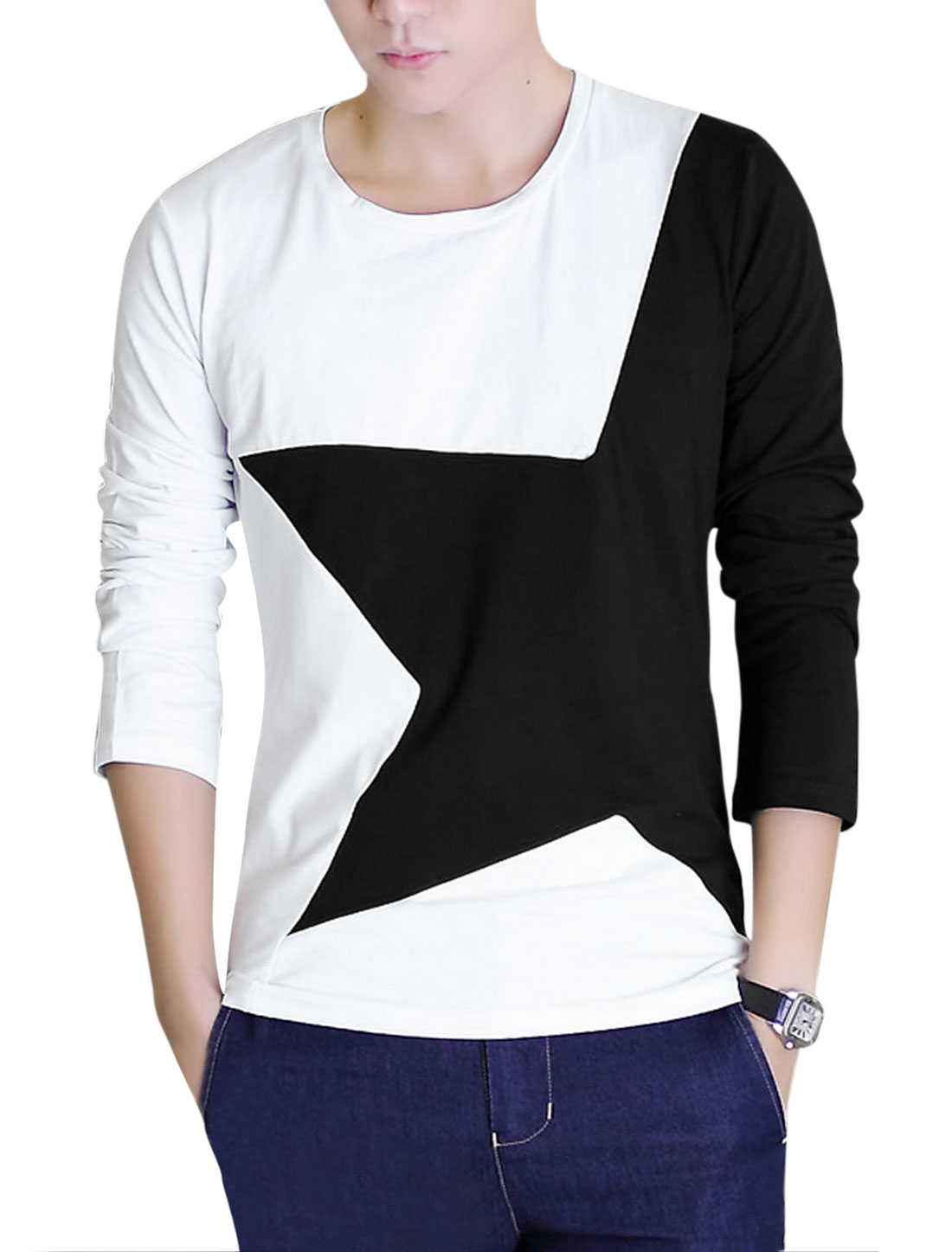 Men Round Neck Stars Pattern Contrast Color Trimed Casual Shirt White Black M