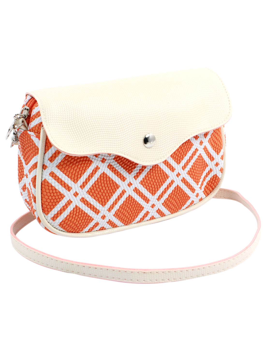 Women 2 Pockets Magnet Button Zipper Closure Check Pattern Faux Leather Wallet Purse Bag Orange White w Shoulder Strap