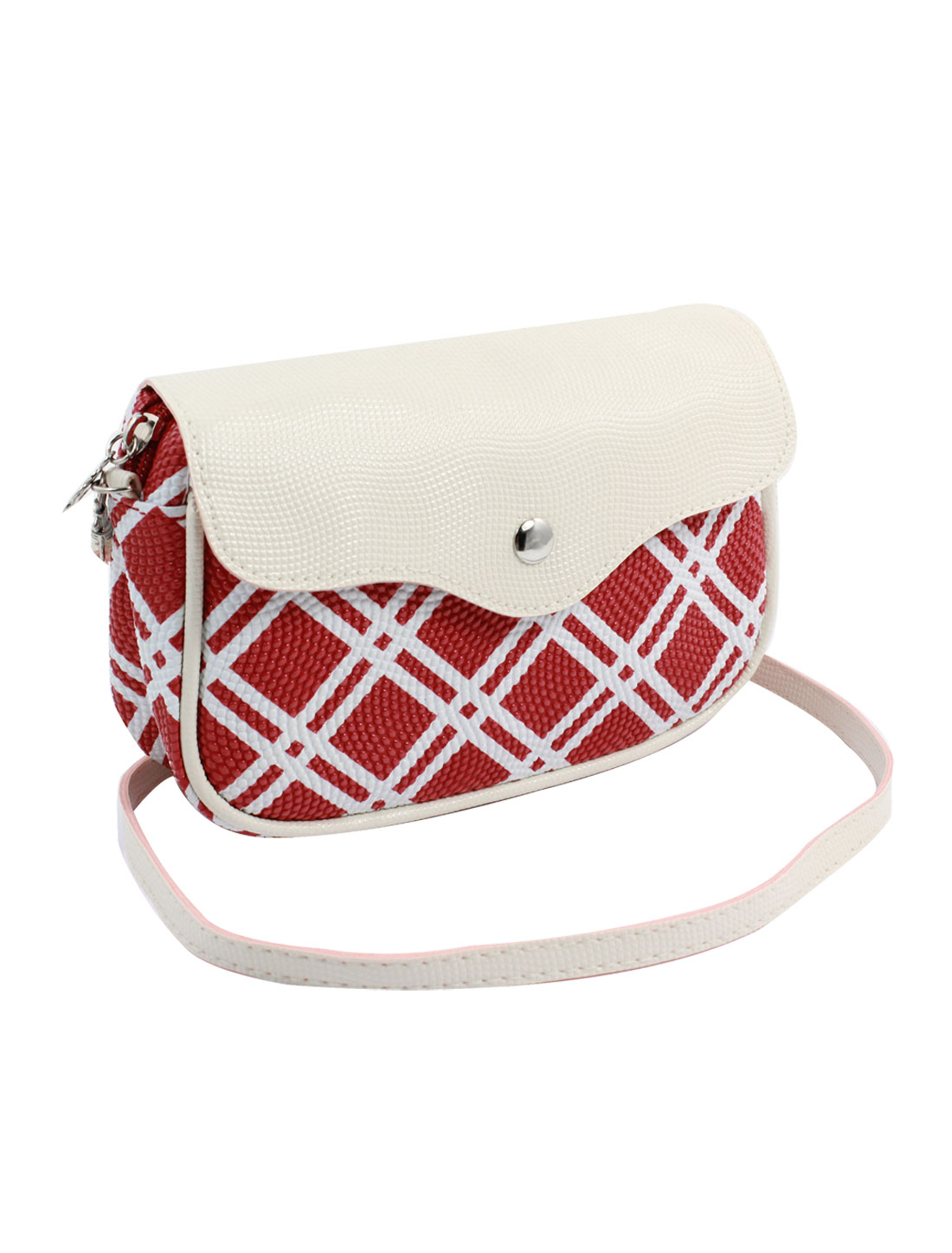 Women 2 Pockets Magnet Button Zippered Check Pattern Faux Leather Wallet Purse Bag Red White w Shoulder Strap