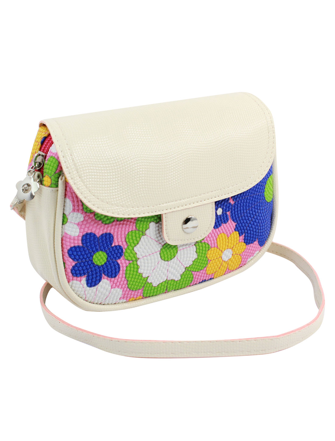 Women 2 Pockets Magnet Button Zipper Closure Floral Print Faux Leather Wallet Purse Bag Blue Green Pink w Shoulder Strap