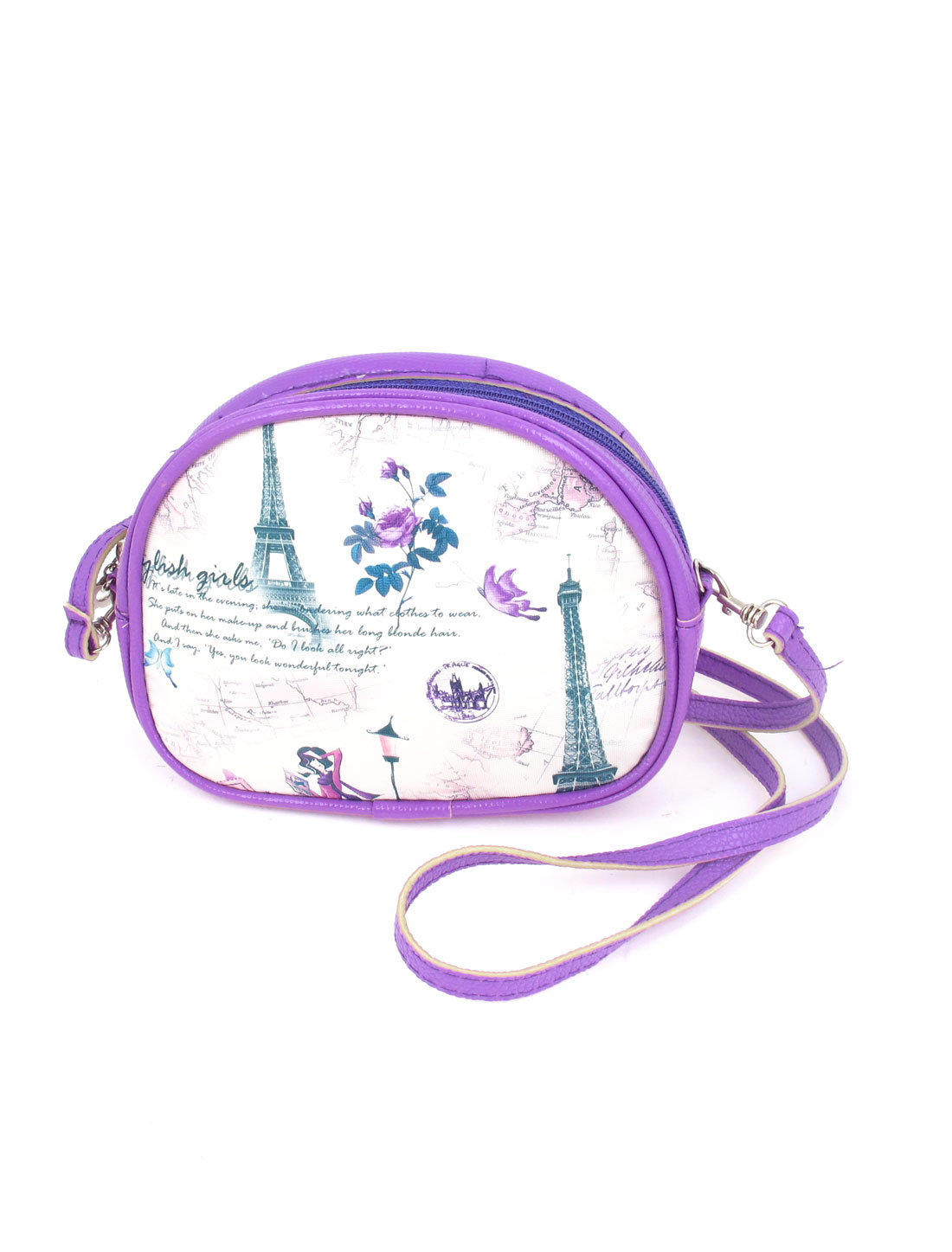 Lady 2 Pockets Zipper Closure Character Flower Iron Tower Print Faux Leather Wallet Purse Bag White Purple w Hand Strap