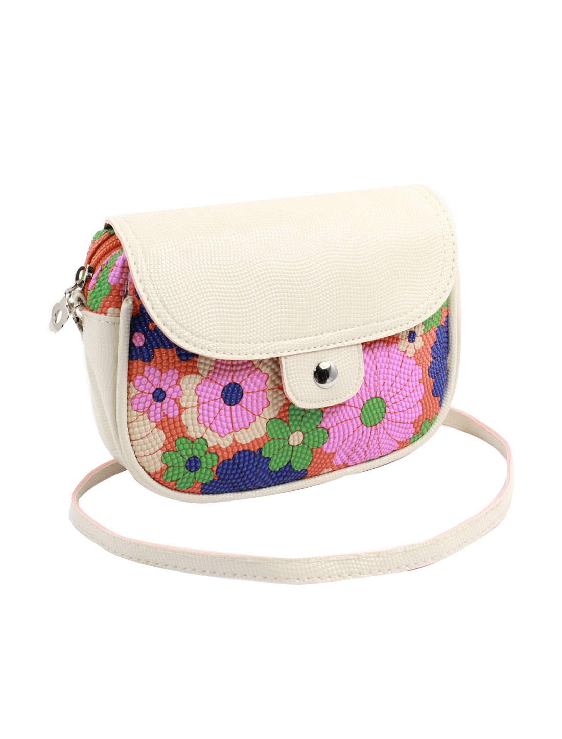 Women 2 Pockets Magnet Button Zipper Closure Floral Print Faux Leather Wallet Purse Bag Pink Orange Green w Shoulder Strap