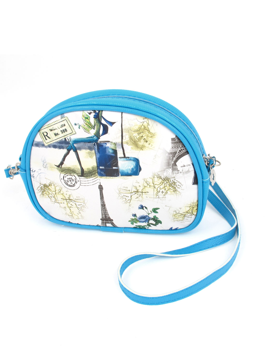 Lady 2 Pockets Zipper Closure Character Flower Iron Tower Print Faux Leather Wallet Purse Bag Blue White w Hand Strap