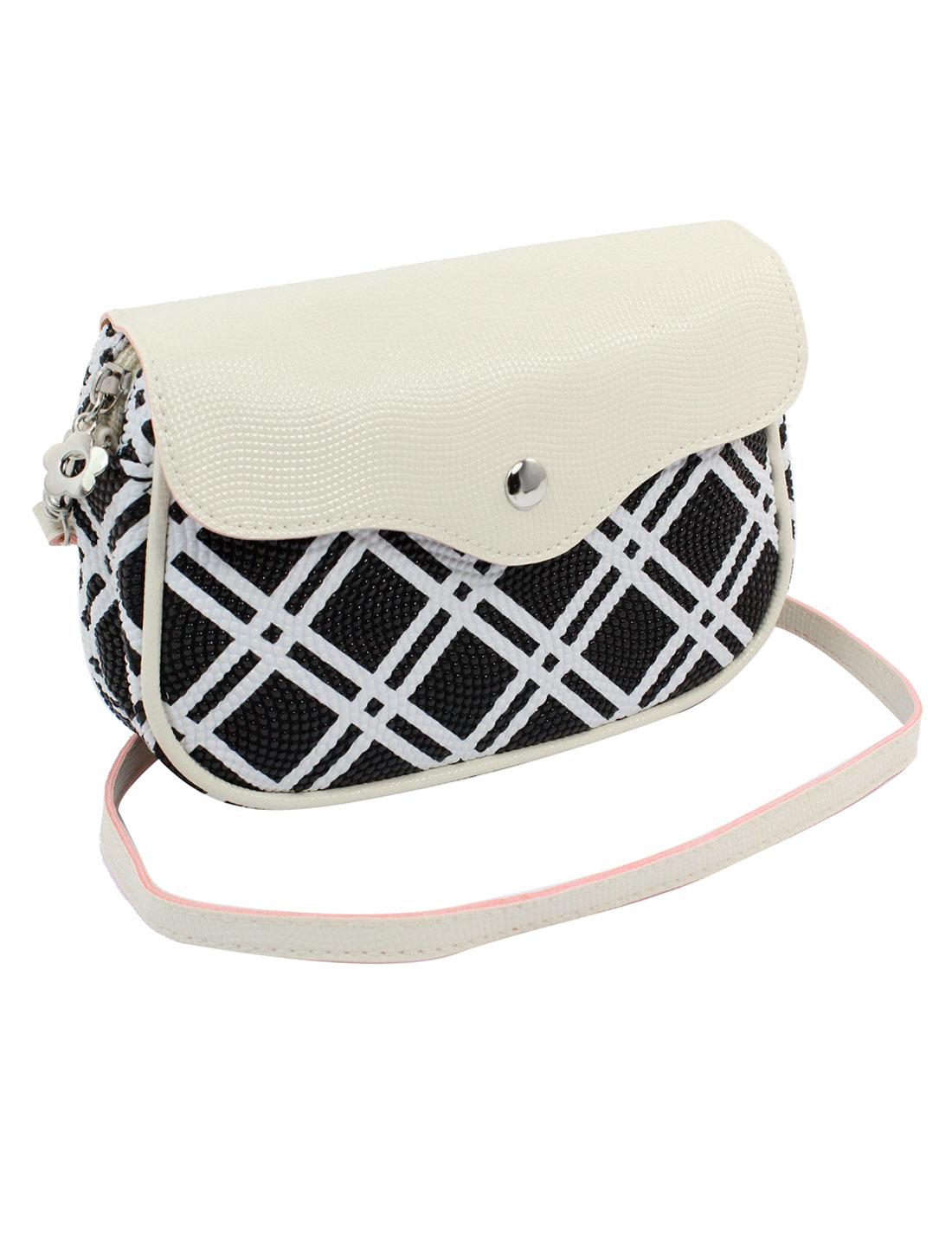 Women 2 Pockets Magnet Button Zipper Closure Check Pattern Faux Leather Wallet Purse Bag Black White w Strap