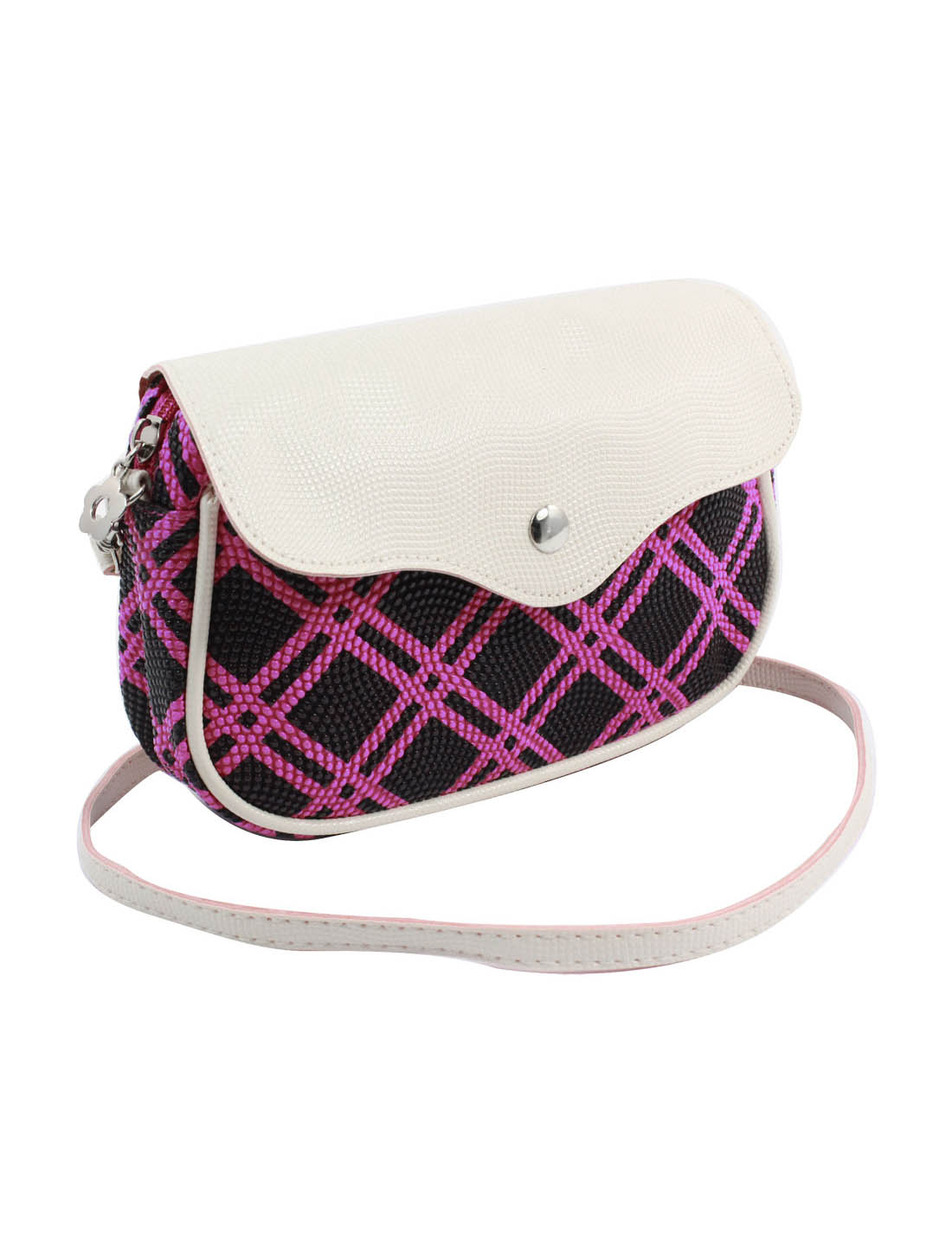 Women 2 Pockets Magnet Button Zipper Closure Plaid Pattern Faux Leather Wallet Purse Bag Black Fuchsia w Strap