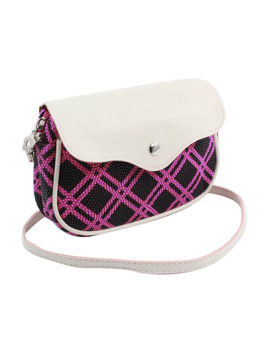 Women 2 Pockets Magnet Button Zipper Closure Plaid Pattern Faux Leather Wallet Purse Bag Black Fuchsia w Strap