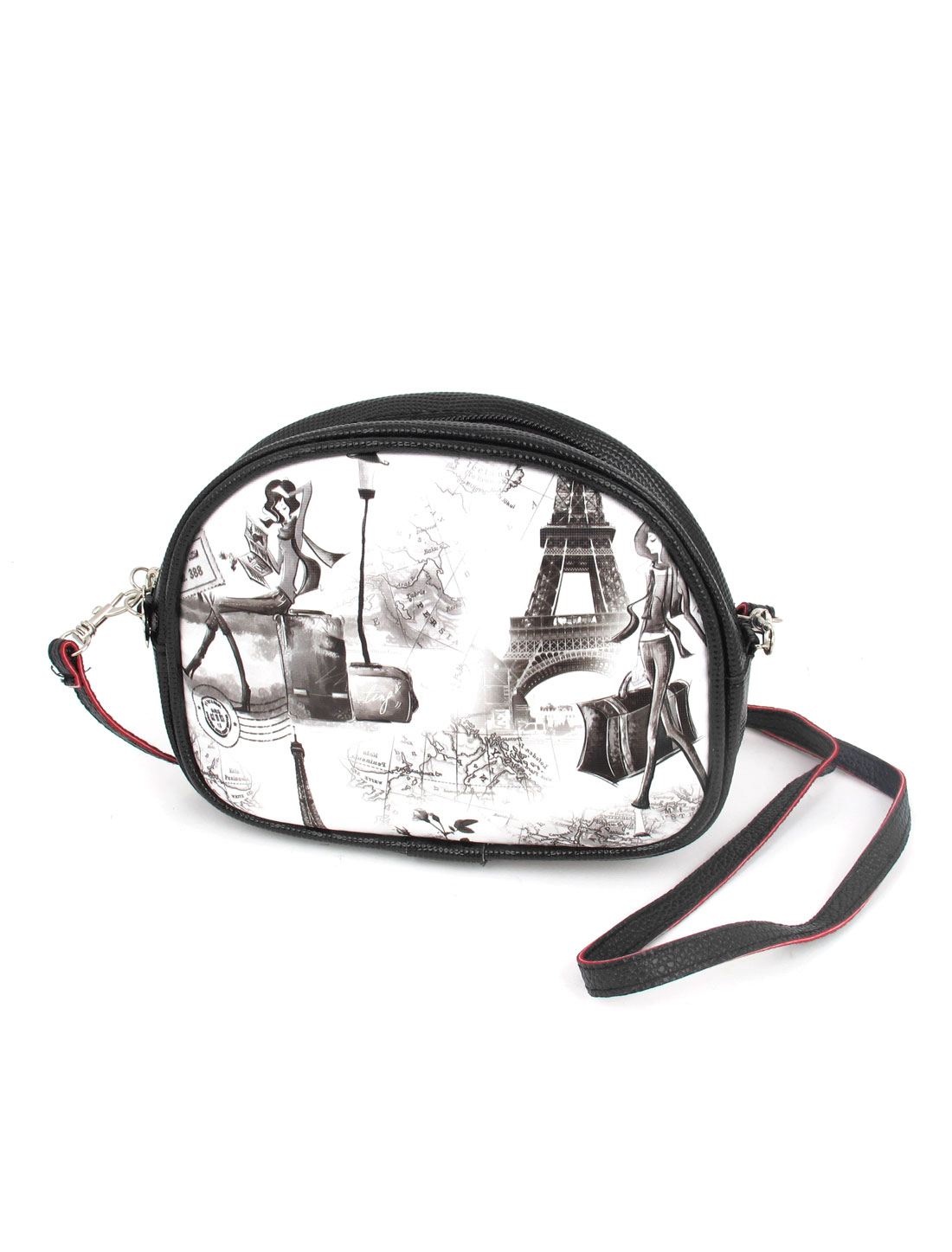 Lady 2 Pockets Zipper Closure Character Flower Iron Tower Print Faux Leather Wallet Purse Bag Black White w Hand Strap