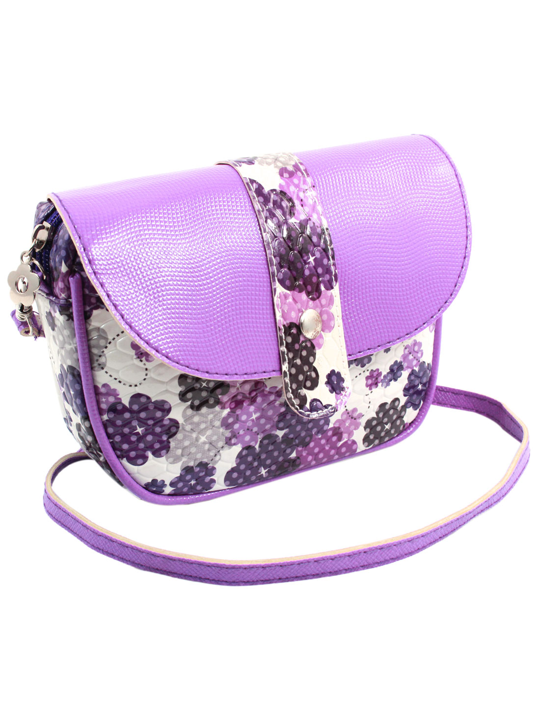 Woman 2 Pockets Magnet Button Zipper Closure Flower Print Faux Leather Wallet Purse Bag Purple White w Strap