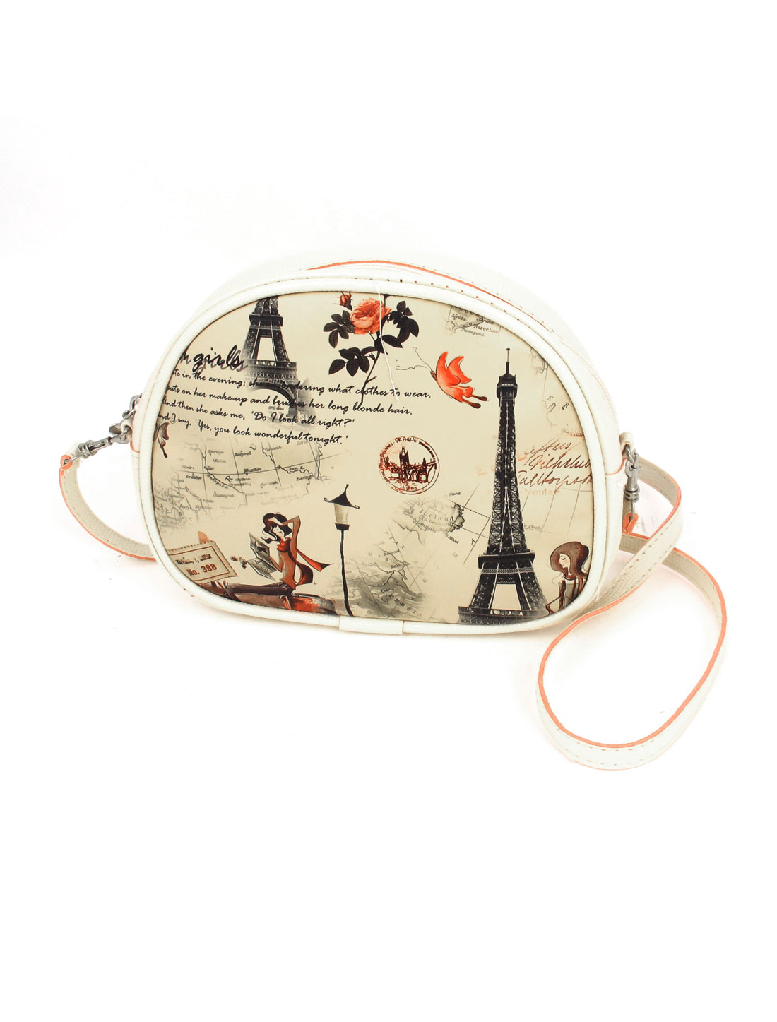 Lady 2 Pockets Zipper Closure Character Flower Iron Tower Print Faux Leather Wallet Purse Bag Khaki w Hand Strap