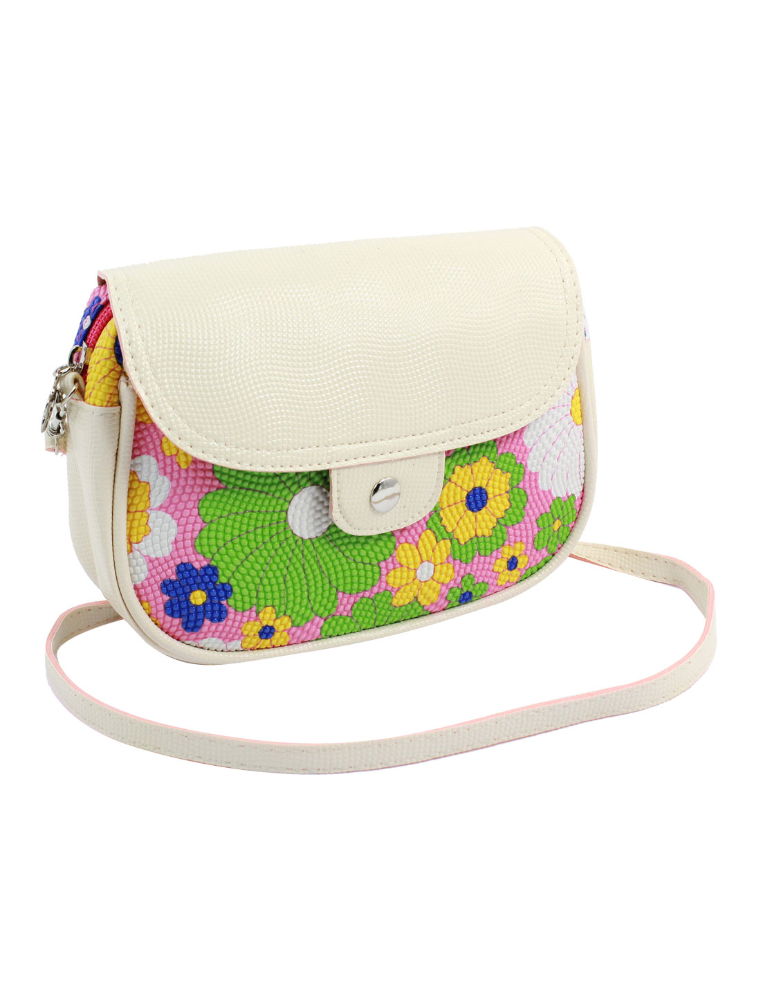 Women 2 Pockets Magnet Button Zipper Closure Floral Print Faux Leather Wallet Purse Bag Pink Fuchsia Green w Strap