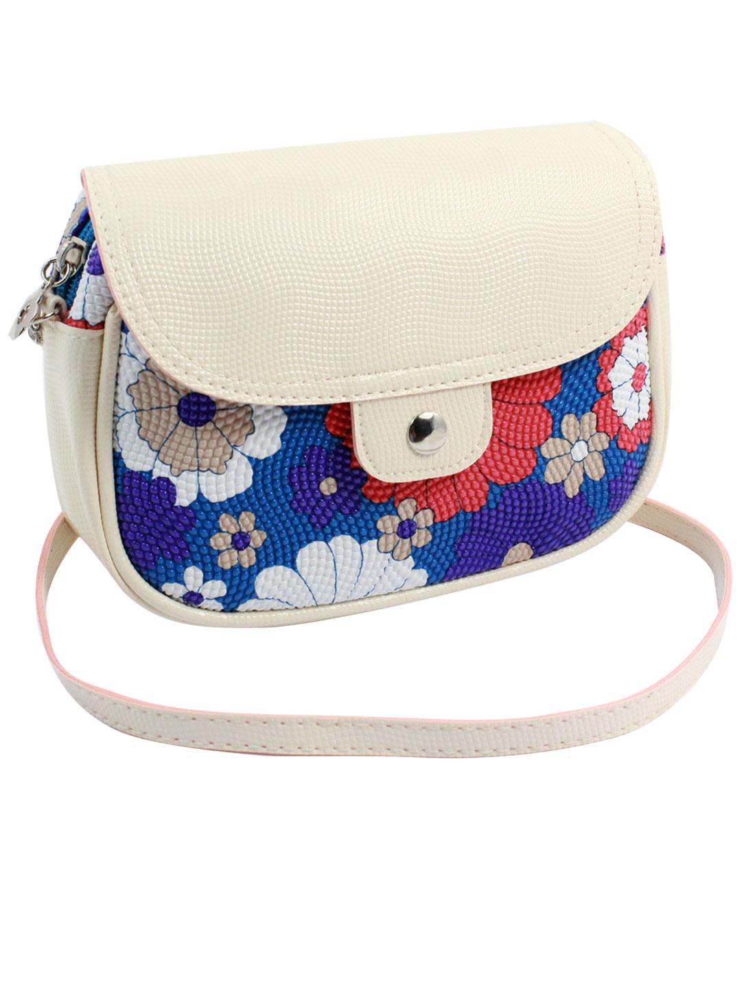 Women 2 Pockets Magnet Button Zipper Closure Floral Print Faux Leather Wallet Purse Bag Blue White Red w Strap