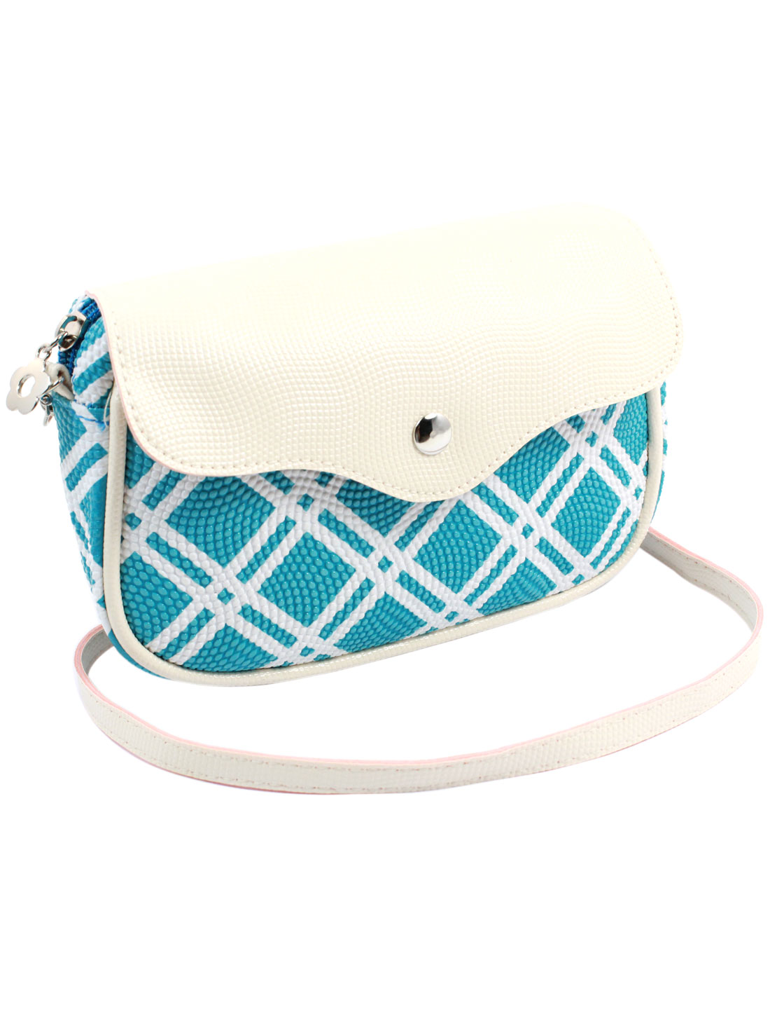 Women 2 Pockets Magnet Button Zipper Closure Check Pattern Faux Leather Wallet Purse Bag Blue White w Strap