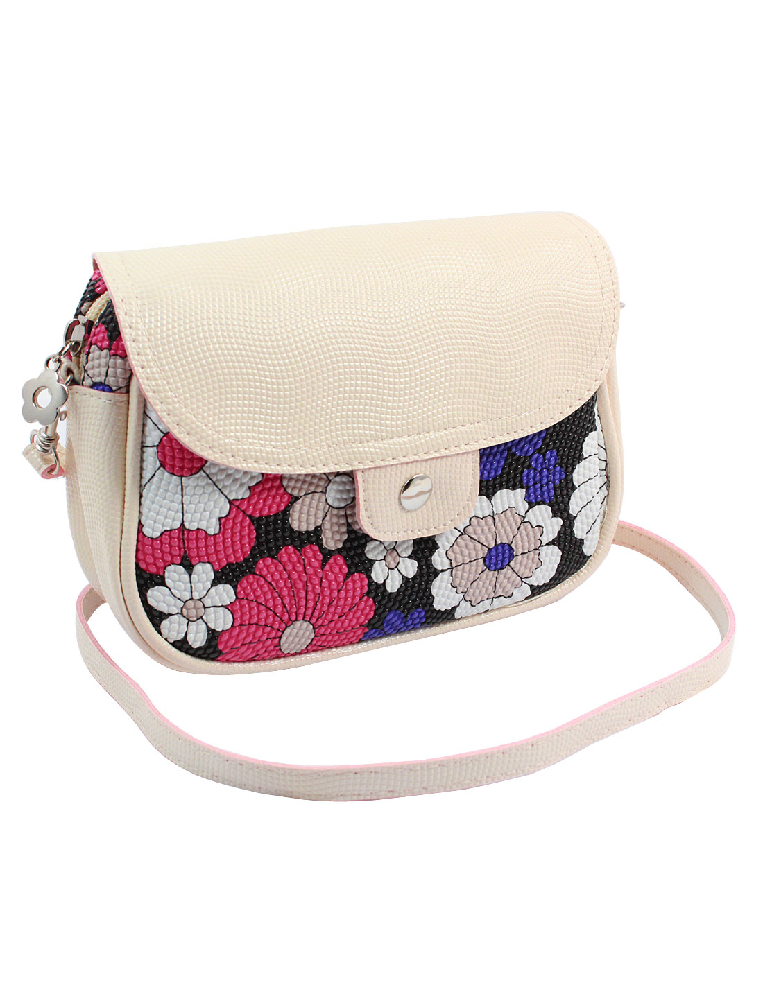 Women 2 Pockets Magnet Button Zipper Closure Floral Print Faux Leather Wallet Purse Bag Black White Red w Shoulder Strap