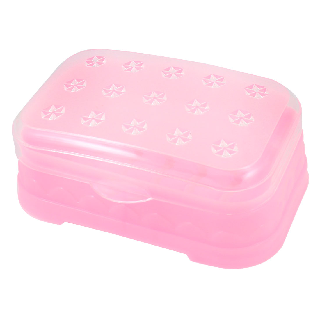 Hexagon Flowers Pattern Clear Light Pink Rectangular Soap Dish Case Box