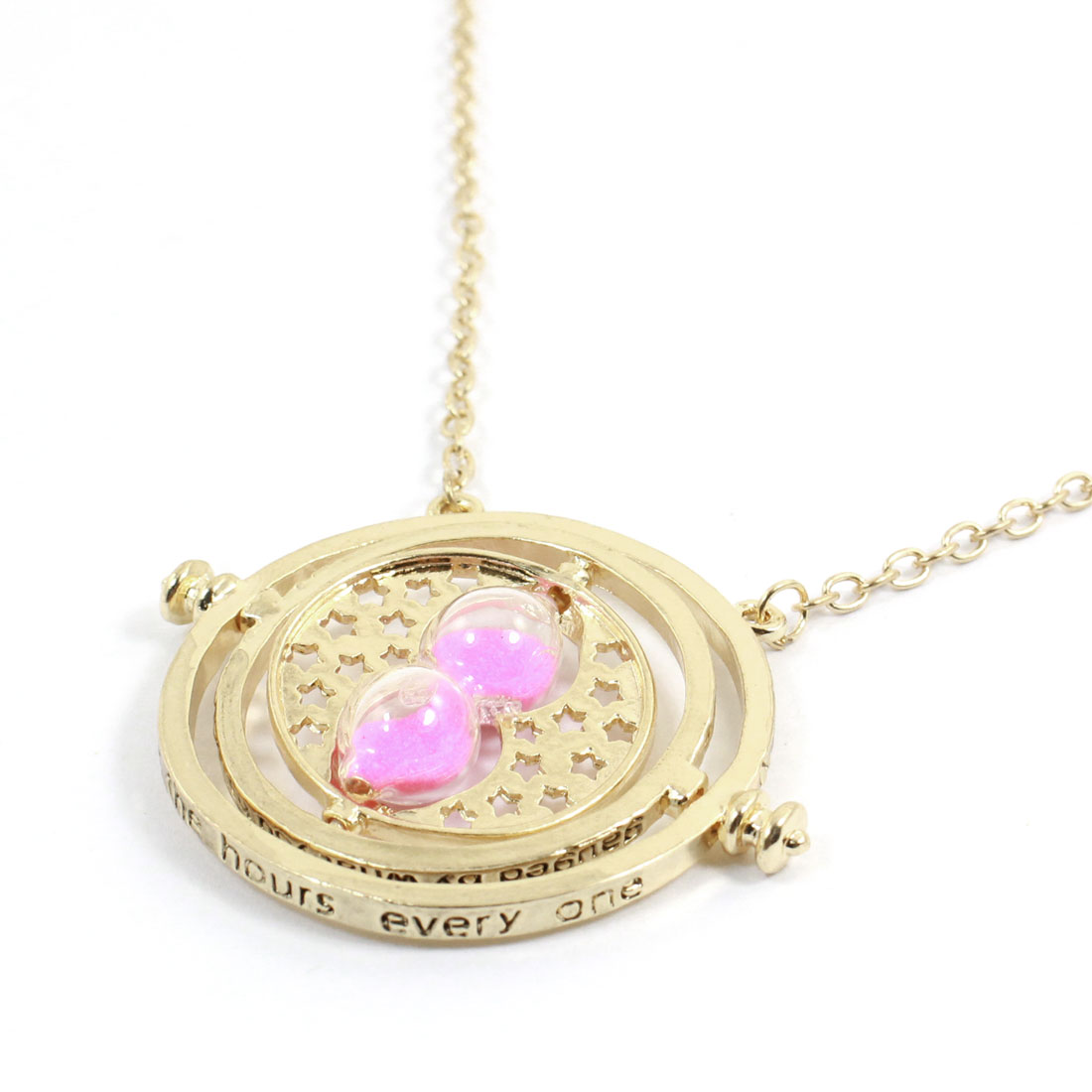 "Neck Ornament Fuchsia Sand Clock Pendant 20"" Girth Necklace Chain Gold Tone for Lady"
