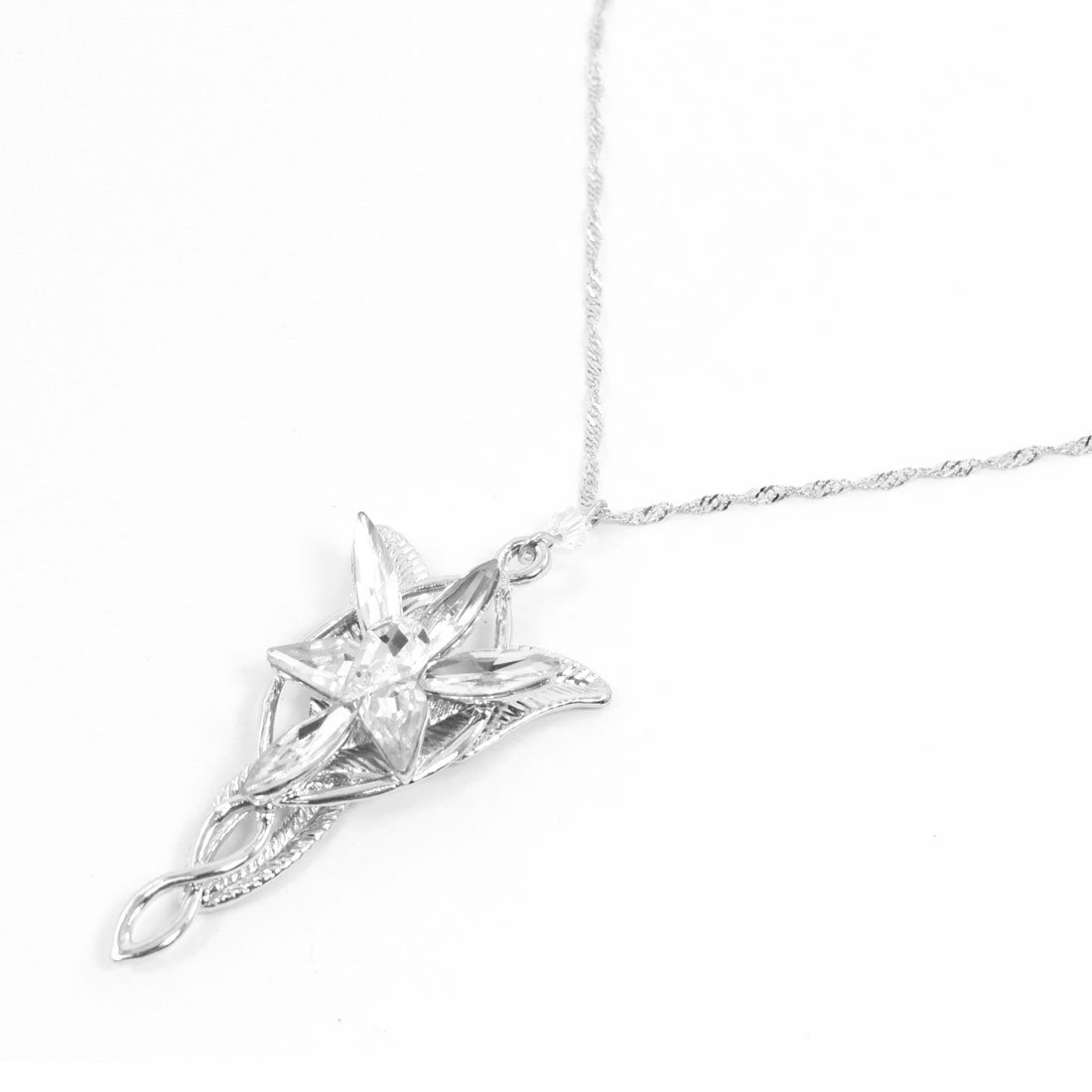 Flower Leaves Style Plastic Crystal Pendant Silver Tone Chain Necklace