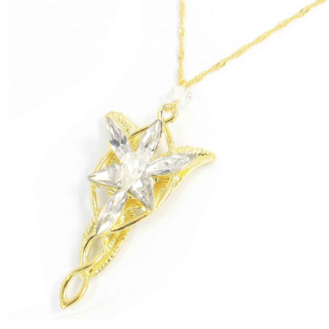 Floral Leaves Design Faux Crystal Pendant Gold Tone Chain Necklace