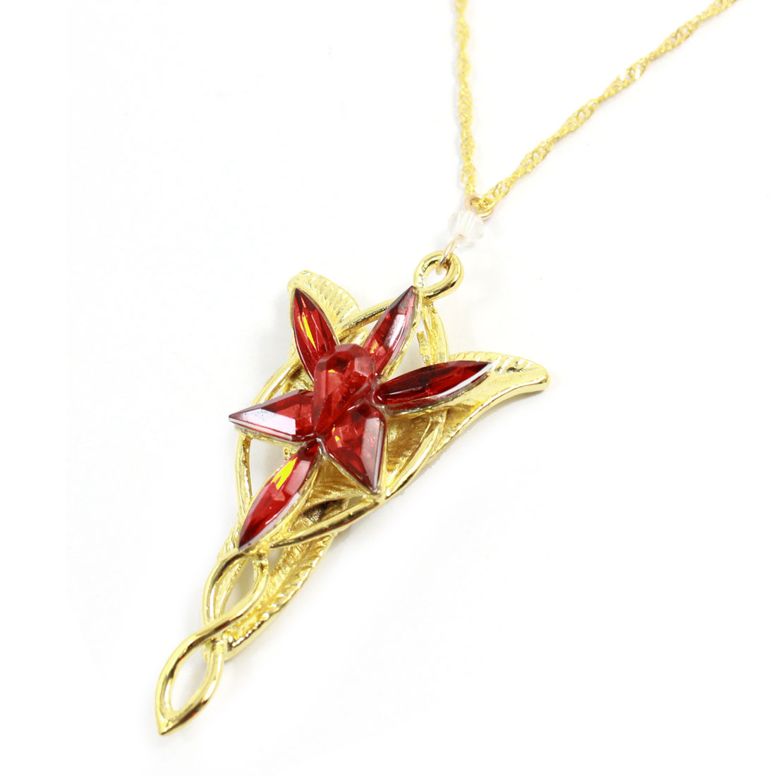 Floral Leaves Design Red Faux Crystal Pendant Metal Chain Necklace Gold Tone