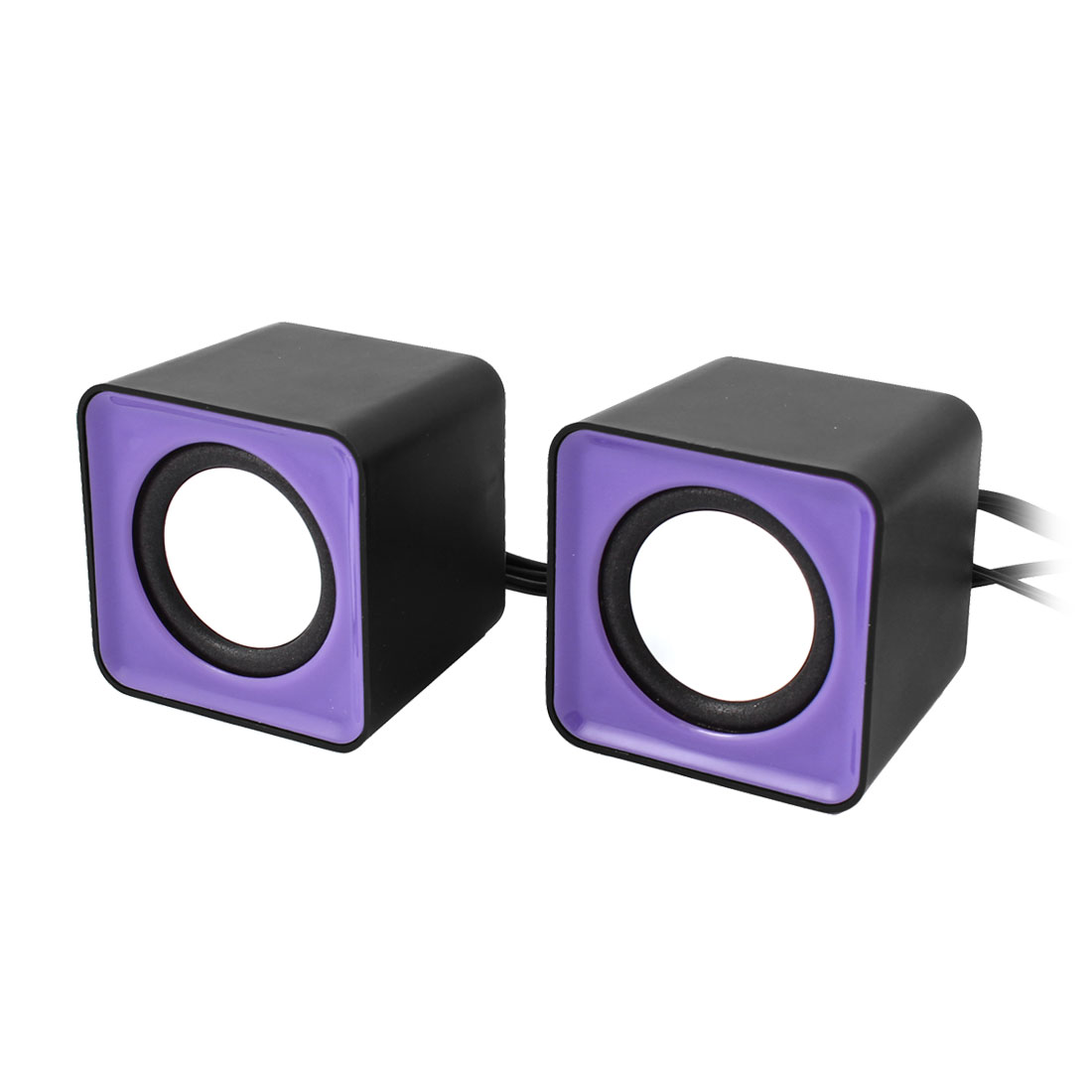 Pair Black Purple USB 2.0 3.5mm Stereo Plug Mini Multimedia Speaker for Laptop PC