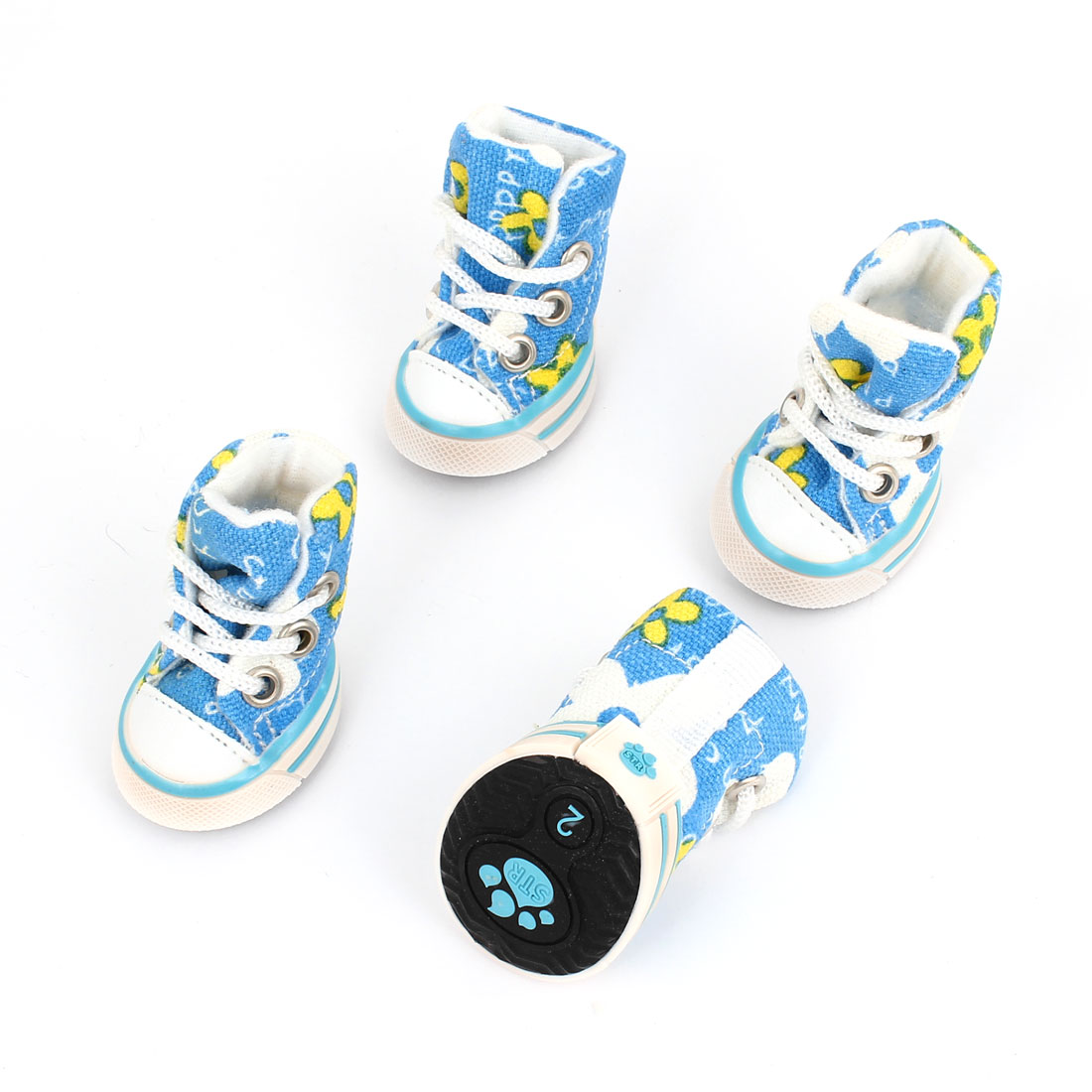 2 Pairs Nonslip Sole Flower Print Canvas Pet Dog Doggy Shoes Sneaker Cyan XXS