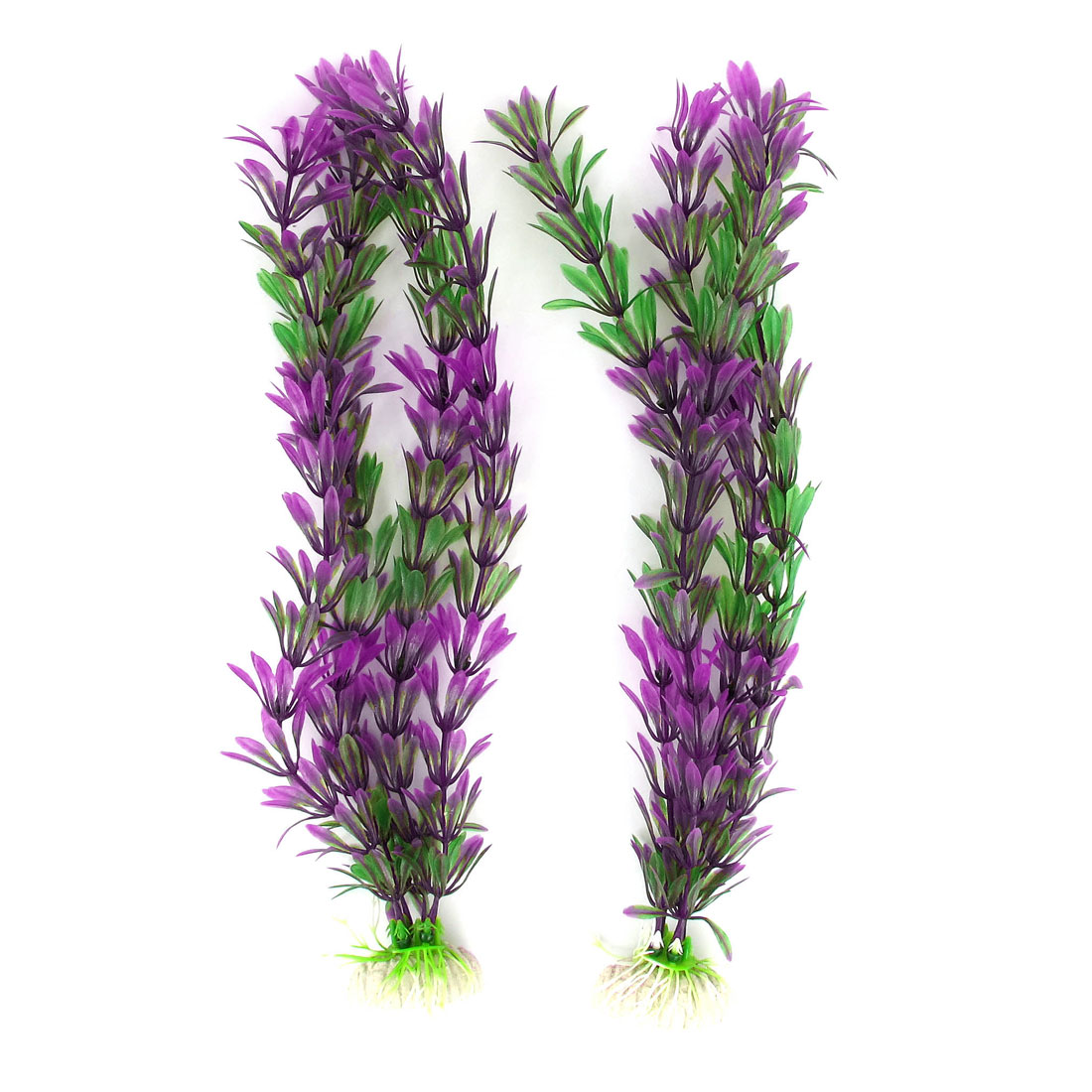 2 Pcs 32cm Height Green Purple Plastic Water Plant Decor for Fish Tank