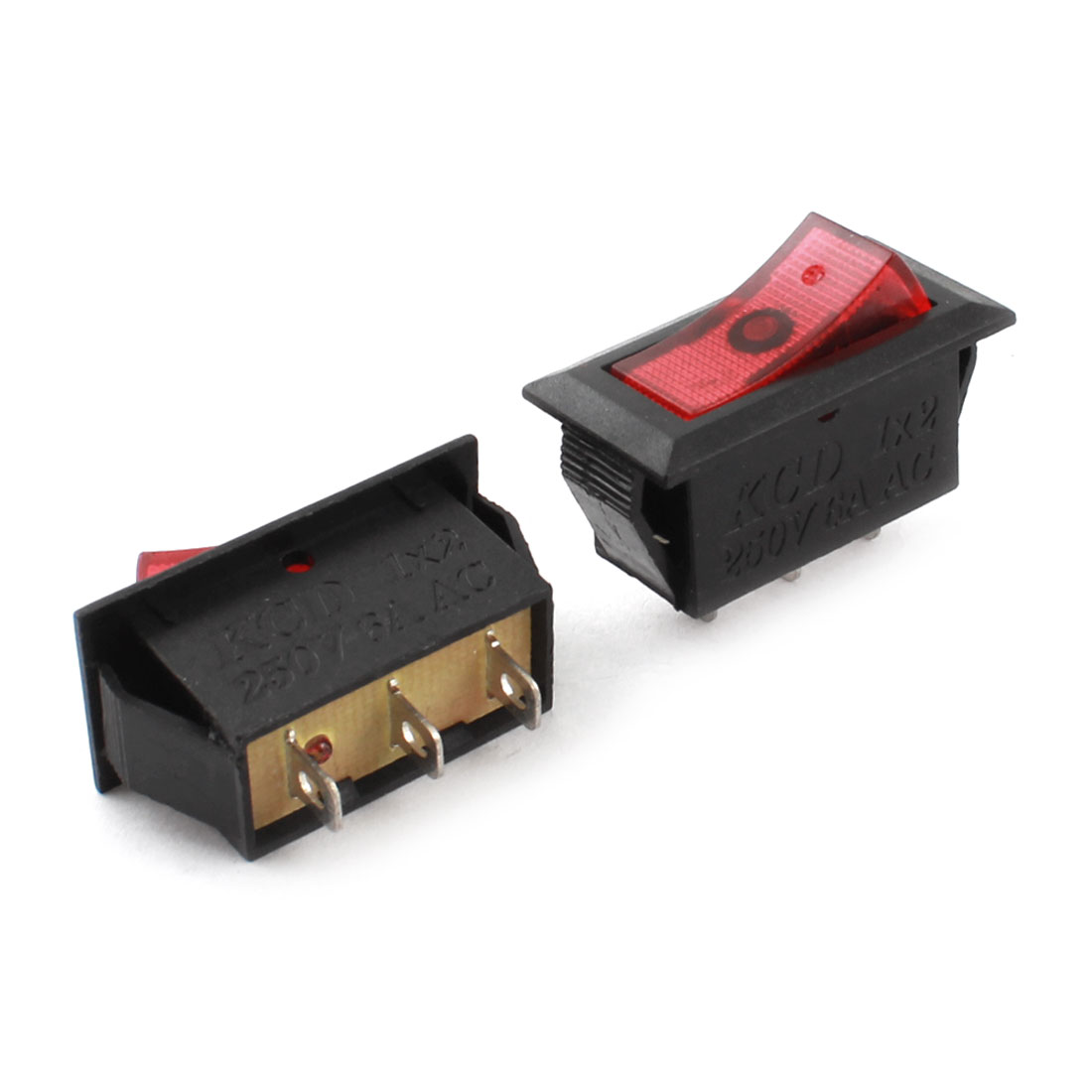 2 Pcs SPDT 3 Terminal Soldering 2Position ON/OFF Snap in Mount Boat Rocker Switches AC 250V 6A