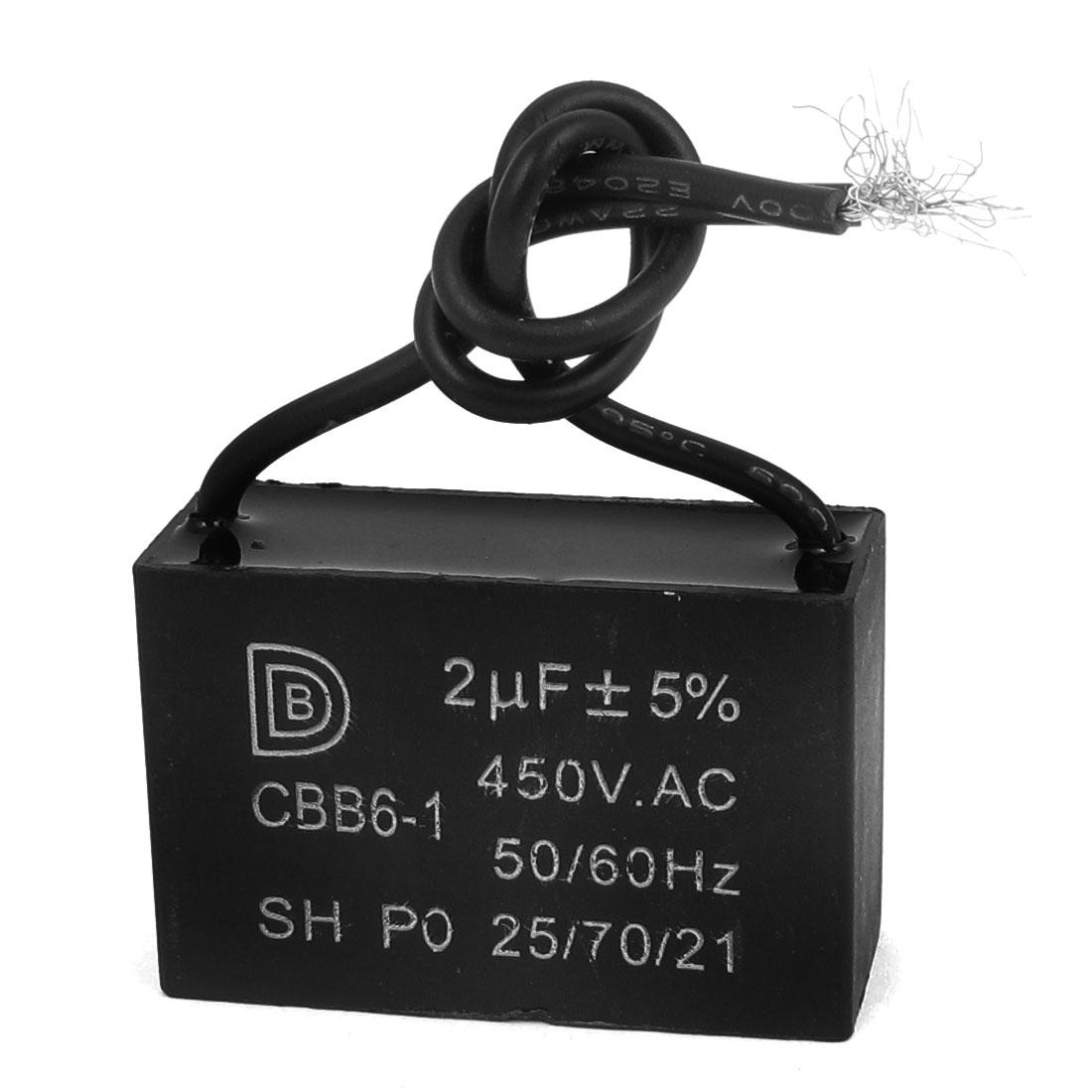 CBB6-1 AC 450V 2uF 5% Tolerance 2-Wire Motor Running Capacitor