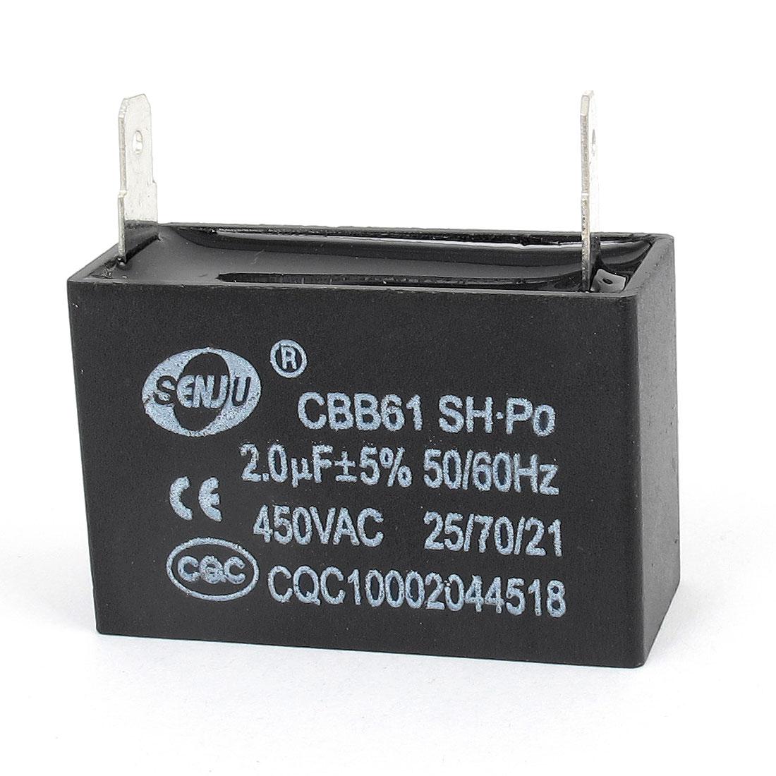 Air Conditioner Motor Running Capacitor 2.0uF 5% Tolerance AC 450V CBB61