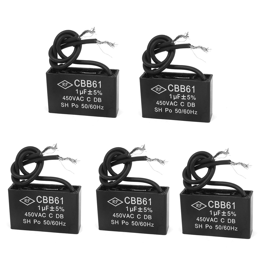 5pcs Metalized Polypropylene Film Motor Running Capacitor 1uF AC 450V CBB61