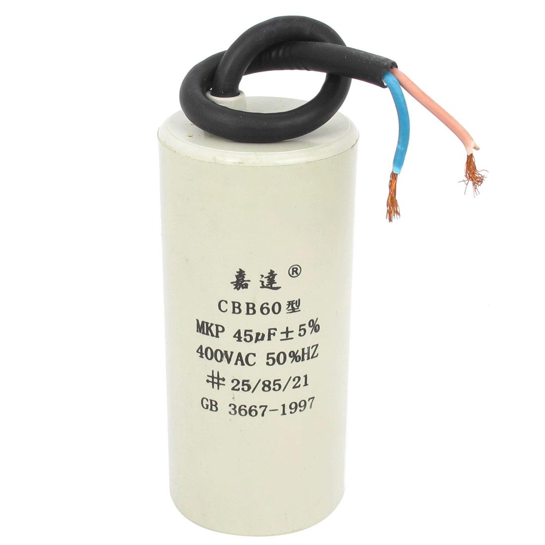 CBB60 AC 400V 45uF Cylindrical Non Polar Motor Capacitor White
