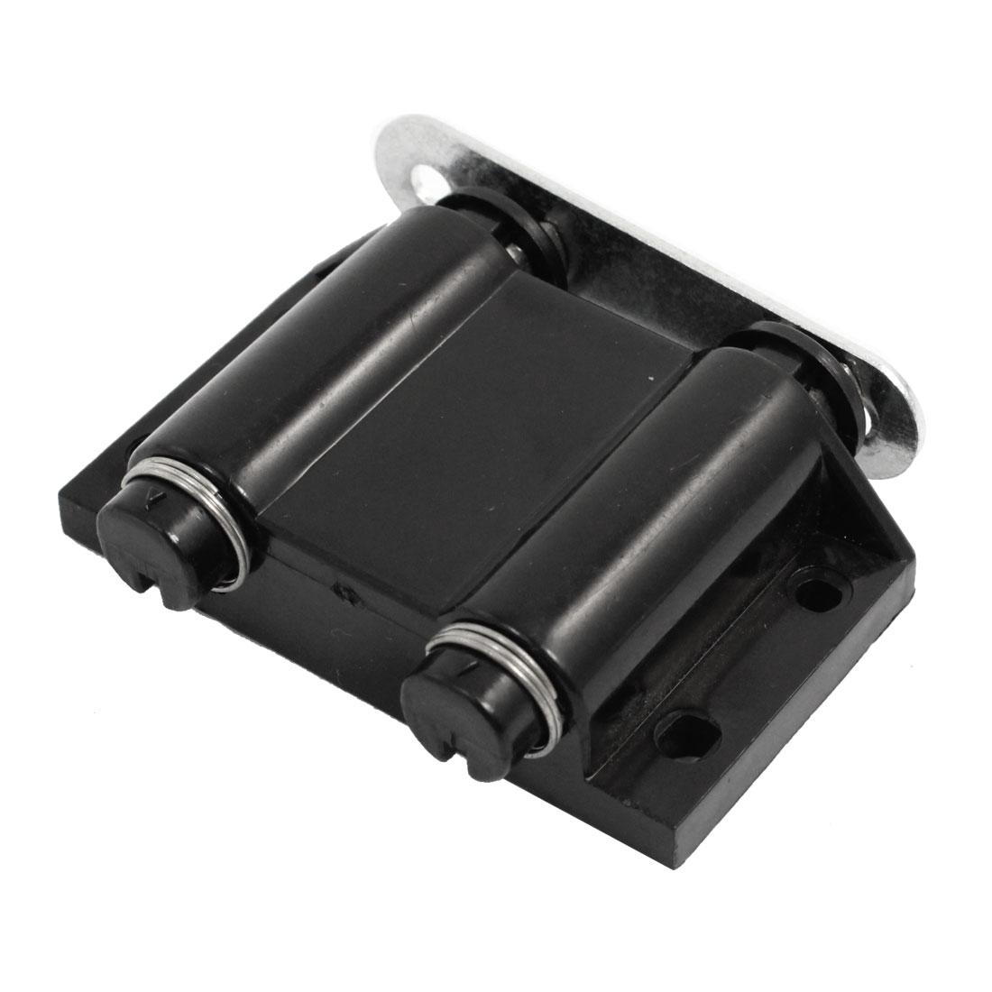 Black Plastic Double Magnetic Press Head Door Catch Latch Replacement 6cm Width