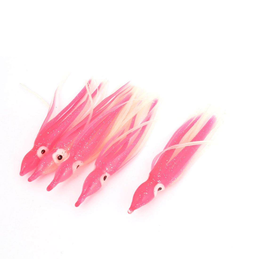 5 Pcs Simulation Octopus Design Pink White Silicone Fishing Baits Lure