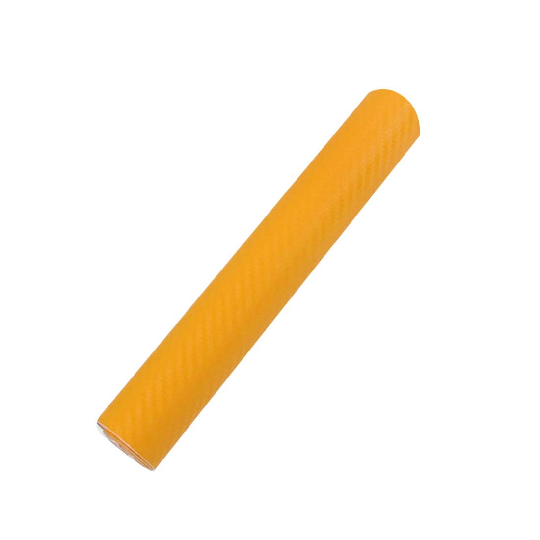"""6"""" x 50"""" 3D Yellow Carbon Fiber Texture Vinyl Wrap Sticker Decal Film Sheet"""
