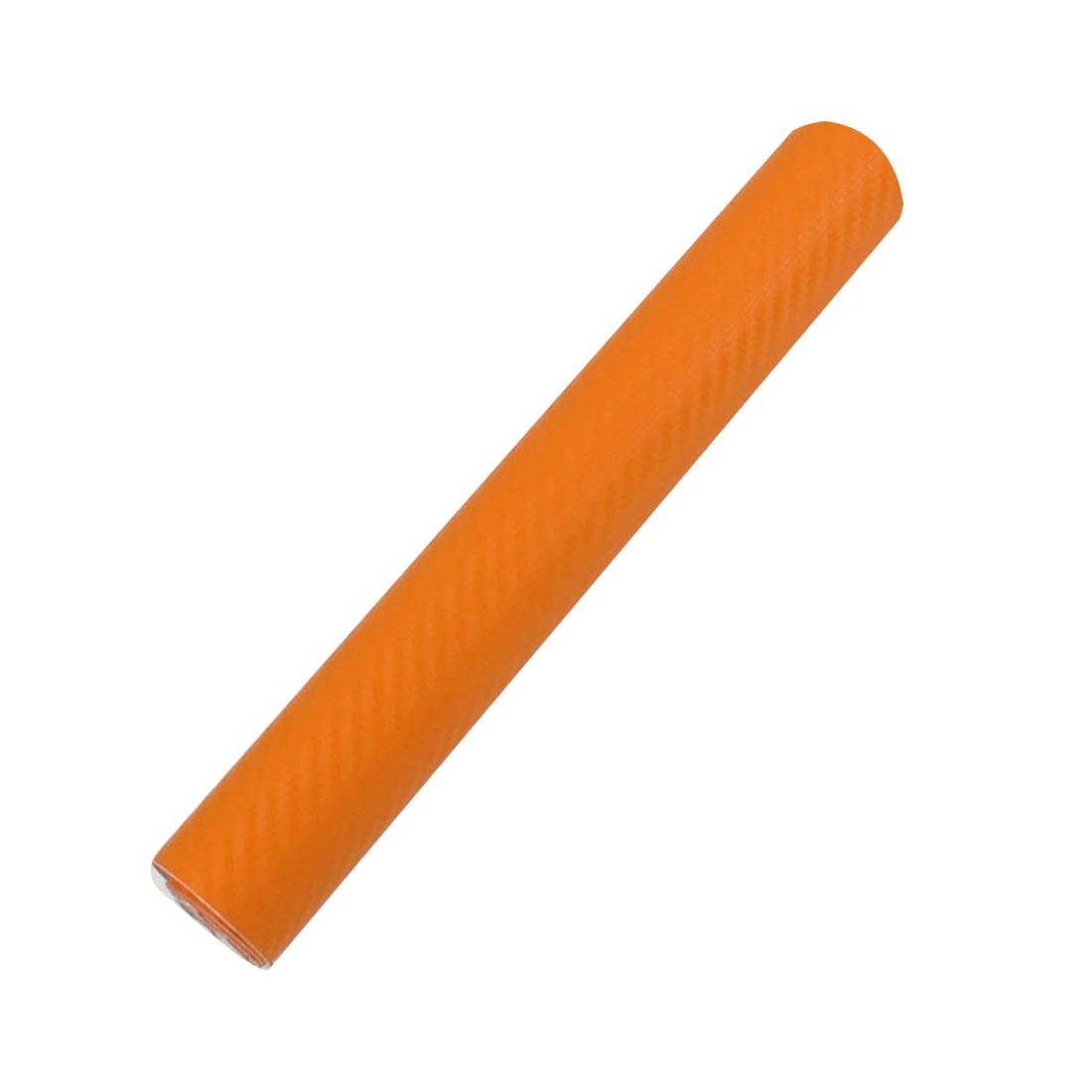 "7.5"" x 59"" 3D Orange Carbon Fiber Texture Vinyl Wrap Sticker Decal Film Sheet"
