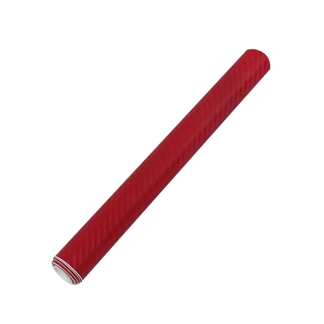 """4"""" x 60"""" 3D Red Carbon Fiber Texture Vinyl Wrap Sticker Decal Film Sheet"""
