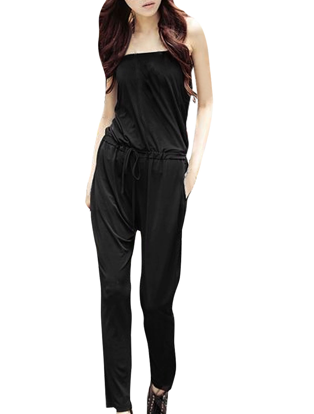 Strapless Casual Slant Pockets Summer Jumpsuit for Women Black XL