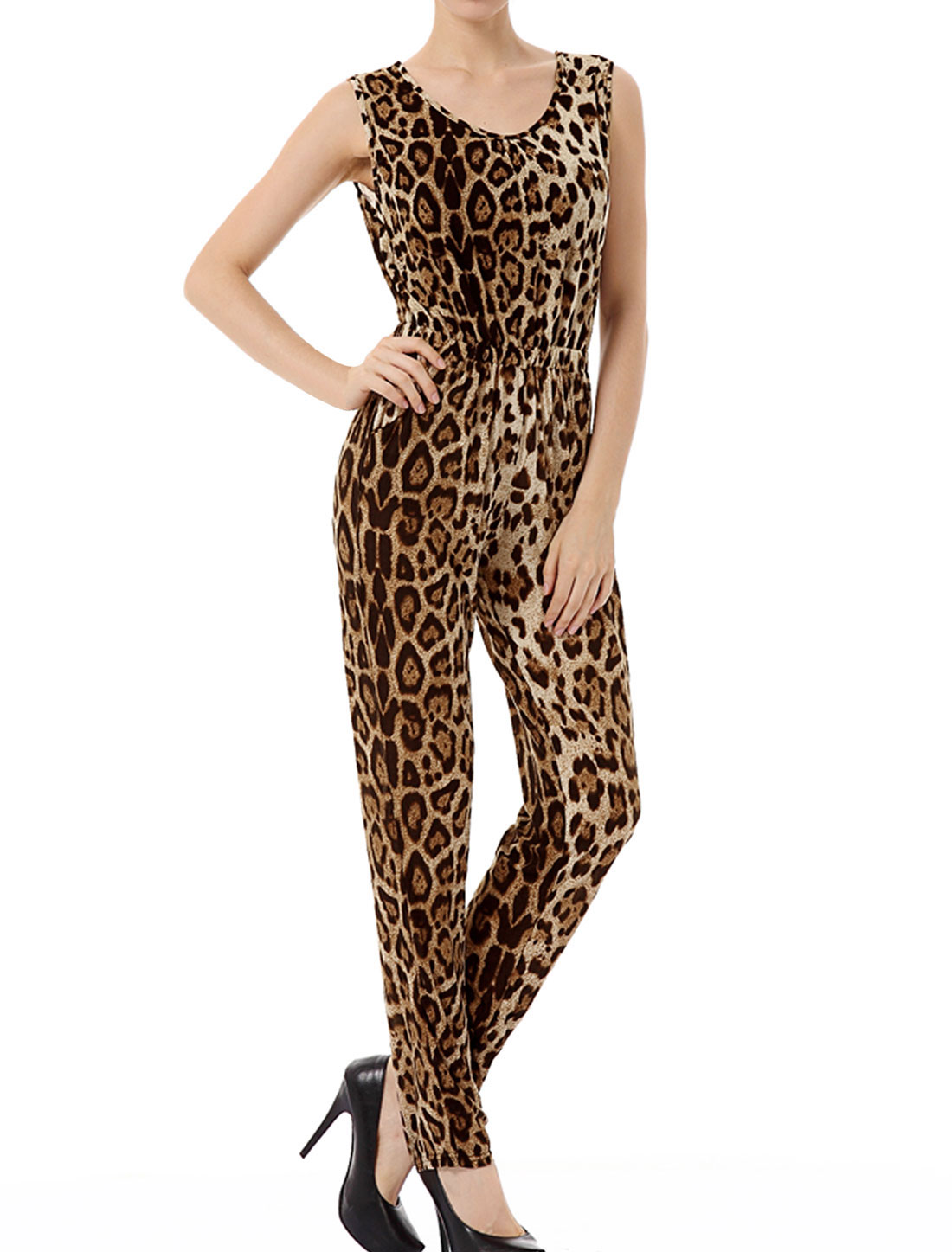 Women Scoop Neck All Over Leopard Pattern Jumpsuit Brown Black XS