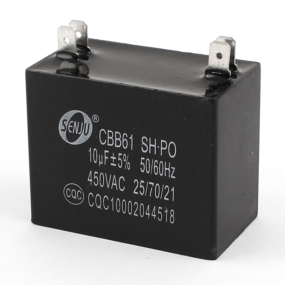 CBB61 AC 450V 10uF 4Pins 50/60Hz Rectangular Water Heater Polypropylene Film Motor Run Capacitor