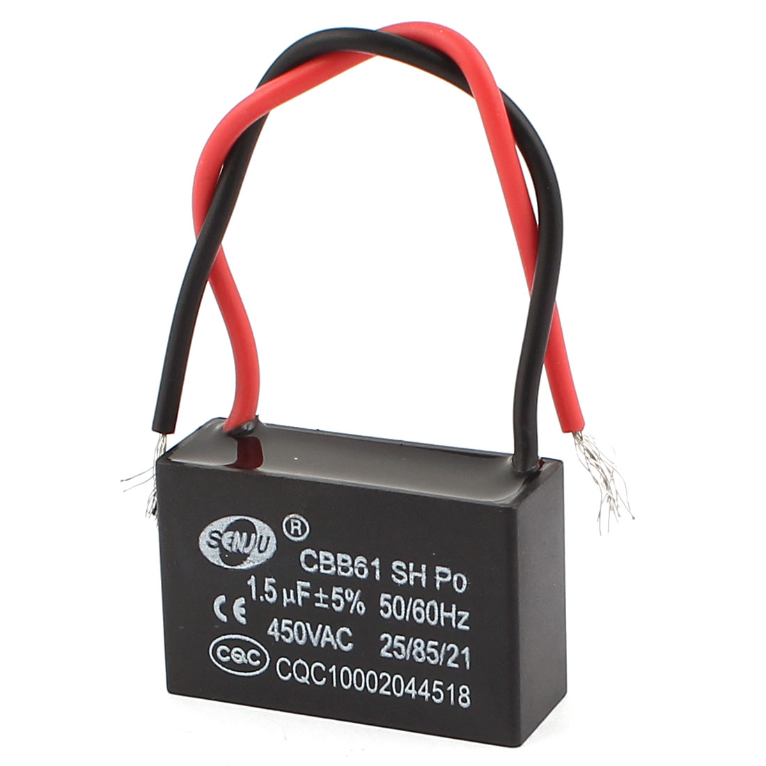 AC 450V 1.5uF 5% Tolerance 2-Wire Polypropylene Film Motor Run Capacitor