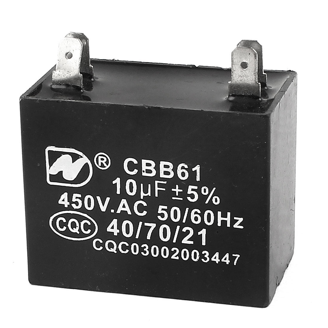CBB61 10uF 4 Soldered Terminal Rectangular Ceiling Fan Capacitor AC 450V 50/60Hz