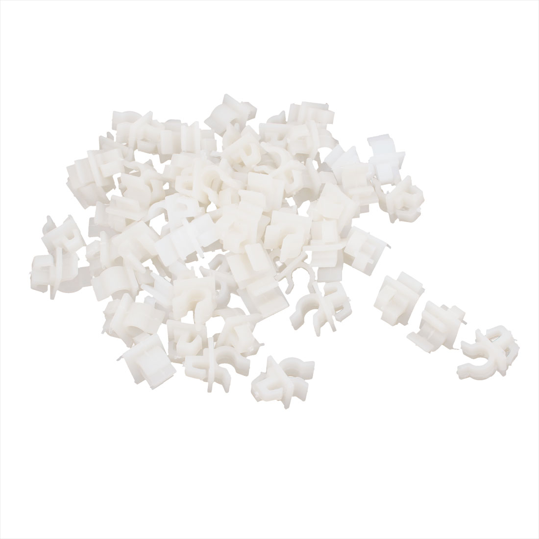 White Plastic 6mm Dia Hole Fastener Door Lock Rod End Clamps 100 Pcs for Car Auto