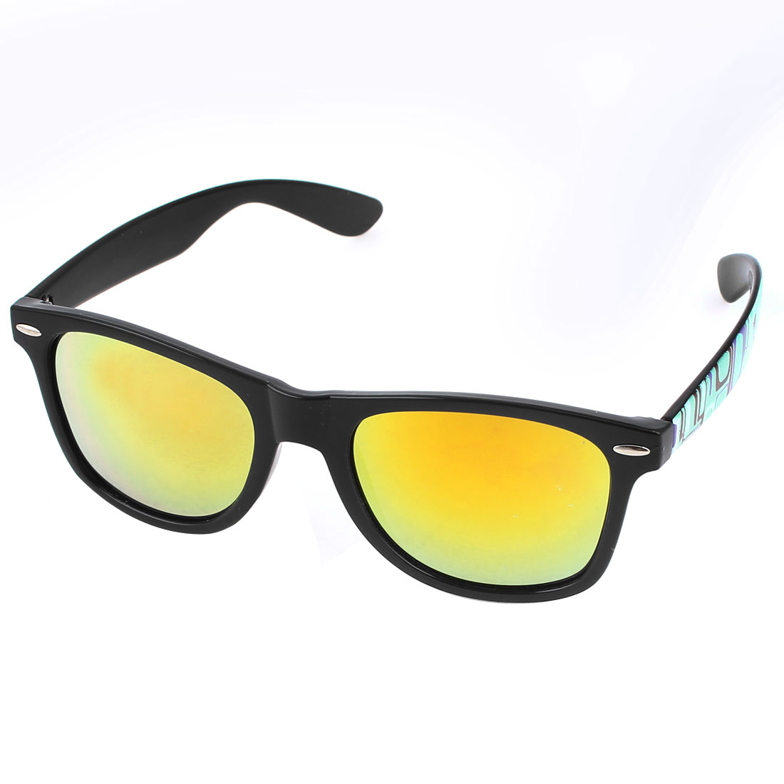 Light Blue Plastic Temple Full Frame Yellow Lens Sunglasses for Woman