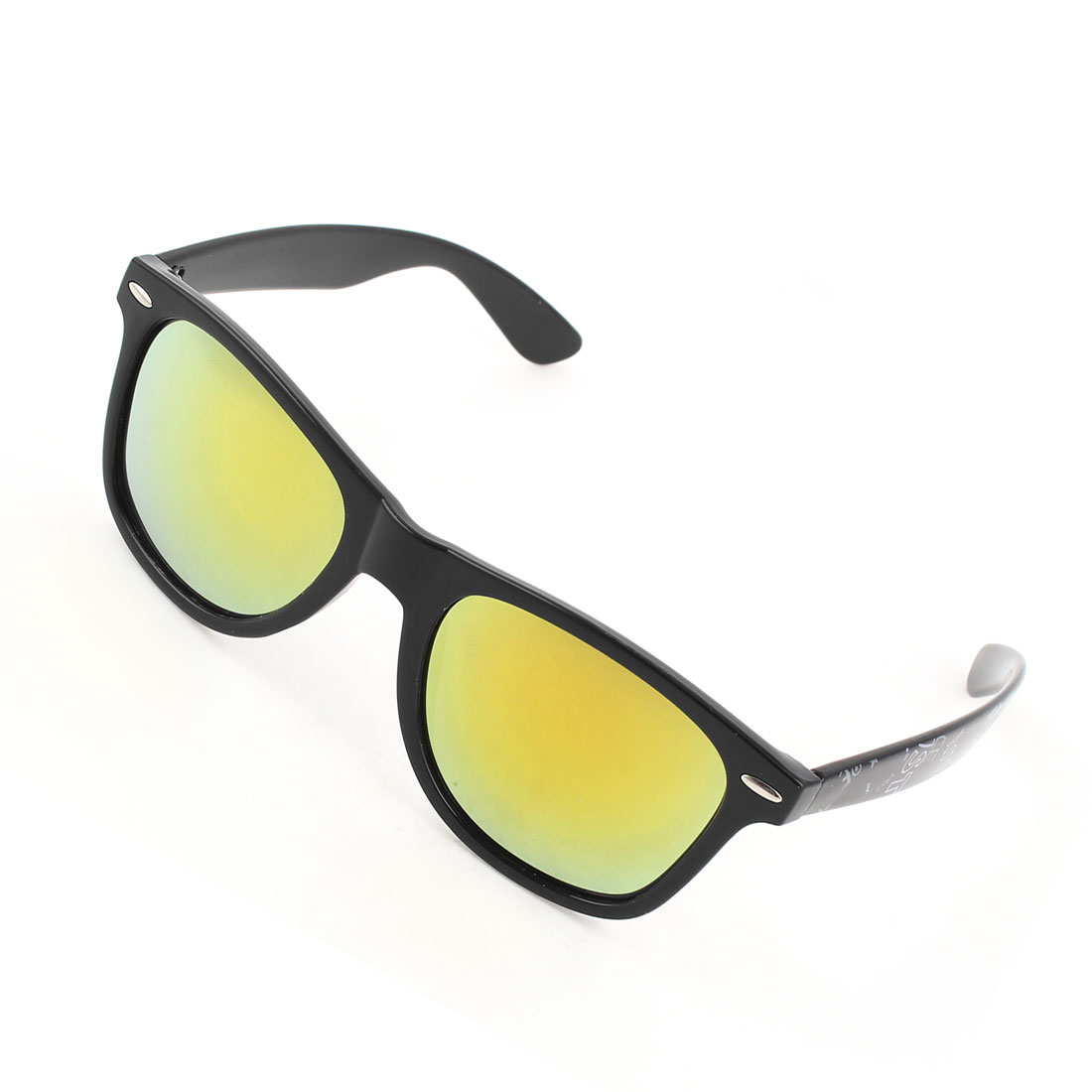 Monogram Black Arms Full Frame Single Bridge Yellow Lens Sunglasses for Lady