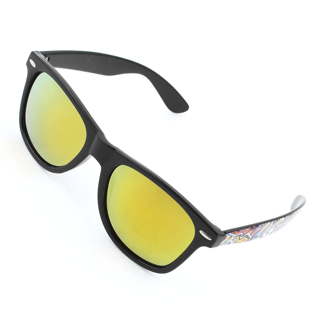 Multicolor Plastic Arms Full Frame Yellow Lens Sunglasses for Ladies