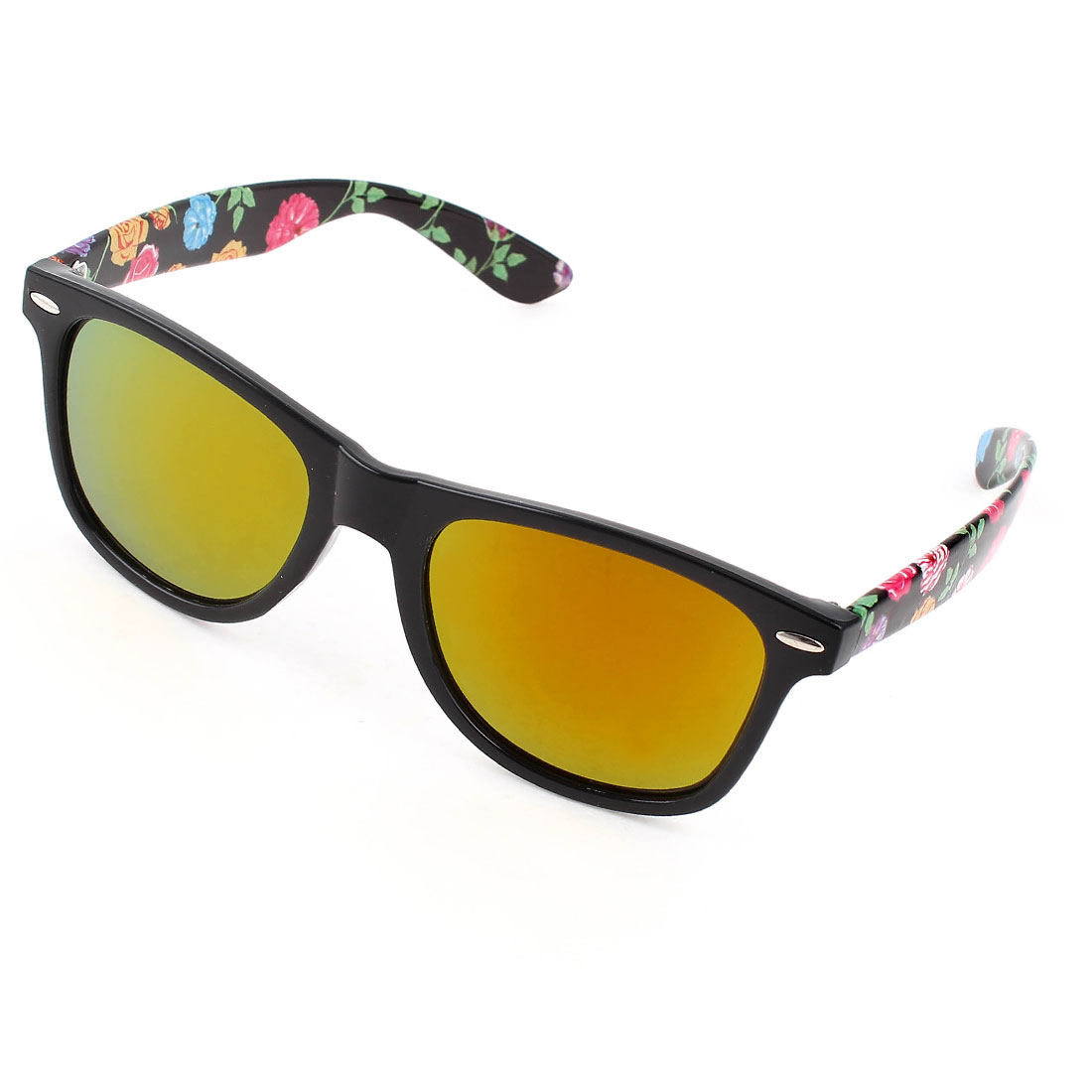 Ladies Rose Prints Plastic Full Frame Single Bridge Yellow Lens Sunglasses