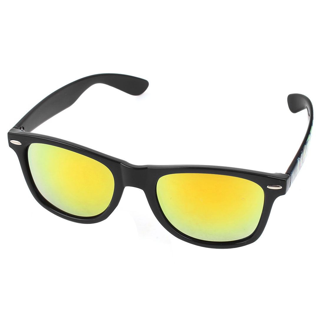 Black Full Frame Single Bridge Yellow Lens Sunglasses Eyewear for Lady